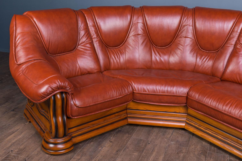 """Угловой диван """"Гризли"""" в коже, со склада"""