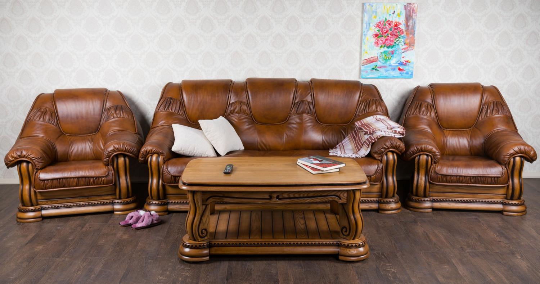 Комплект мягкой мебели и стол Гризли 3-1-1 в наличии